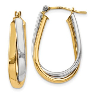 14 Karat Two-tone Gold Double Polished Hoop Earrings