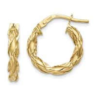 14 Karat Yellow Gold Twisted Rope Hoop Earrings