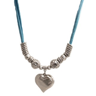 Silver Textured Heart Pendant Necklace