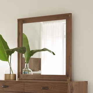 Adler Natural Walnut Beveled Glass Mirror - Hazelnut/Almond/Brown