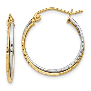 14 Karat Two-tone Gold Diamond-cut Twisted Hoop Earrings