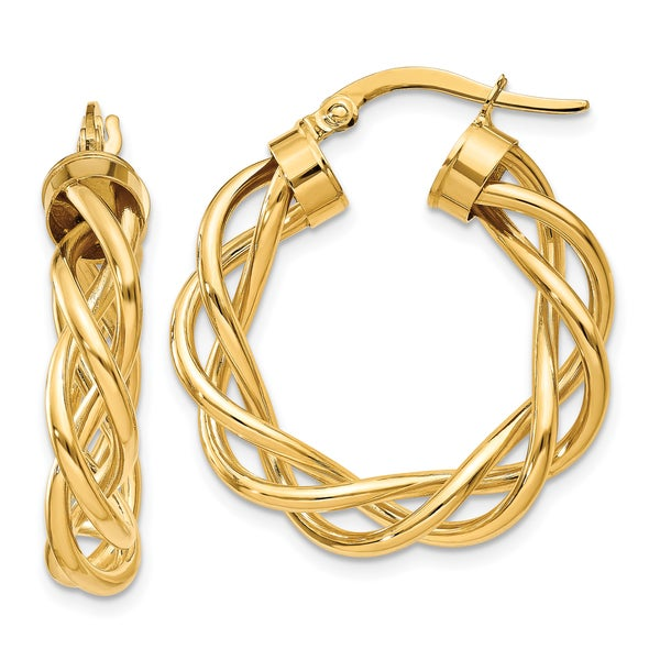 1 karat earrings shop 14 karat yellow gold polished twisted hoop earrings 1065