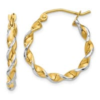 Versil 14k Yellow Gold and Rhodium Polished 2.75mm Fancy Twisted Hoop Earrings