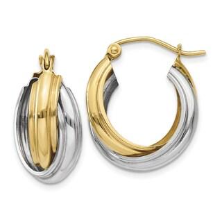 14k Two-tone Polished Double Hoop Earrings by Versil