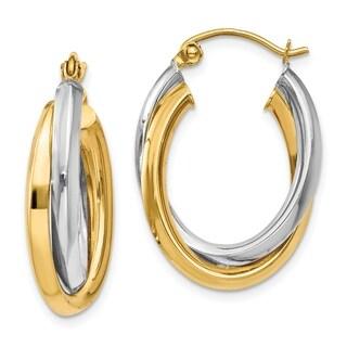 14 Karat Two-tone Gold Polished Double Oval Hoop Earrings