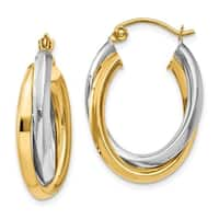 Versil 14 Karat Two-tone Gold Polished Double Oval Hoop Earrings