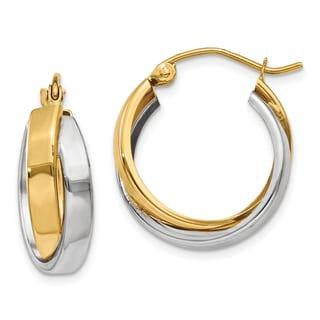 14k Two-tone Gold Polished Double Hoop Earrings