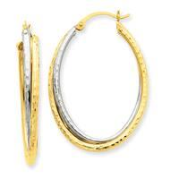 14 Karat Two-tone Gold Diamond-cut Polished Oval Hoop Earrings