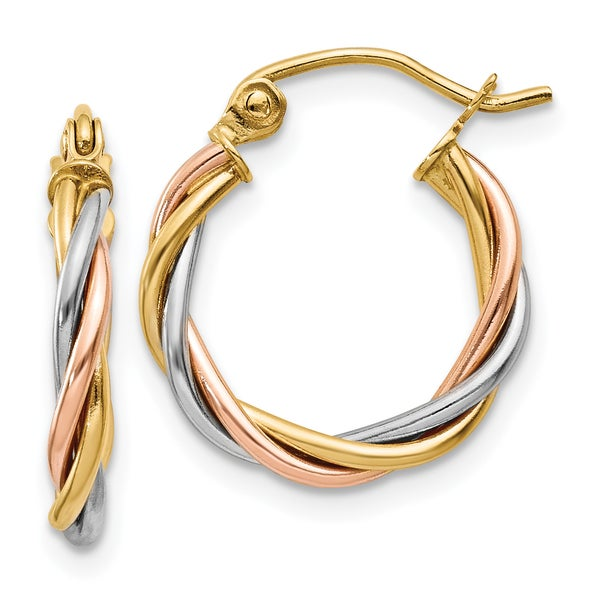 14 Karat Tri Color Gold Polished 2 5mm Twisted Hoop Earrings