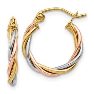 14 Karat Tri-color Gold Polished 2.5mm Twisted Hoop Earrings