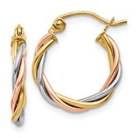 14 Karat Tri-color Gold Polished 2.5mm Twisted Hoop Earrings