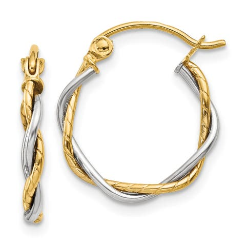 14K Two-tone Gold Polished 1.8mm Twisted Hoop Earrings by Versil