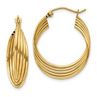 14k Yellow Gold Lightweight Fancy Hoop Earrings