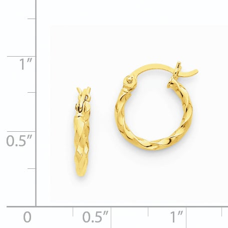 14 Karat Yellow Gold Twist Polished Hoop Earring