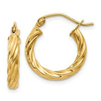 14 Karat Yellow Gold Polished 2.75mm Twisted Hoop Earrings