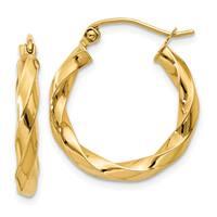 Versil 14 Karat Yellow Gold Polished 3mm Twisted Hoop Earrings
