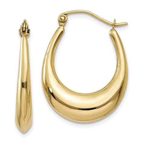 14 Karat Yellow Gold Polished Hoop Earrings by Versil