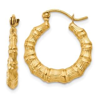 14k Yellow Gold Bamboo Design Hollow Hoop Earrings