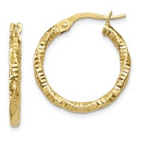 14 Karat Yellow Gold Polished and Textured Hoop Earrings