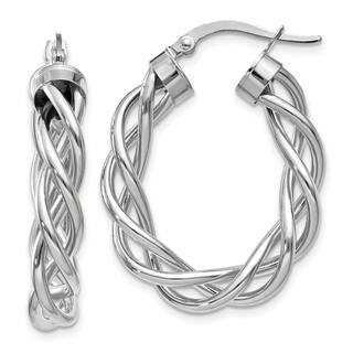 14 Karat White Gold Polished Twisted Hoop Earrings|https://ak1.ostkcdn.com/images/products/14505304/P21061643.jpg?impolicy=medium