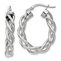 14 Karat White Gold Polished Twisted Hoop Earrings