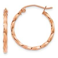 14 Karat Rose Gold Twisted Hoop Earrings