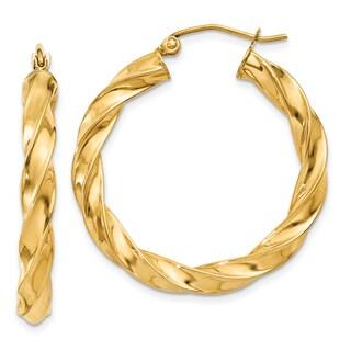 14 Karat Yellow Gold Light Twisted Hoop Earrings