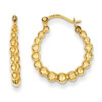14 Karat Yellow Gold Beaded Hoop Earrings