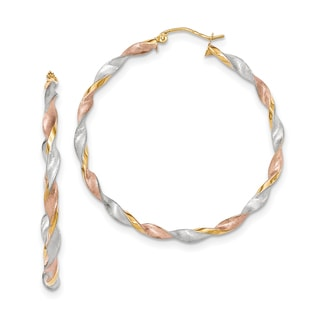 14K Tri-color Satin Twisted Wire and Clutch Hoop Earrings by Versil