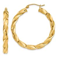 14 Karat Yellow Gold Light Twisted Hoop Earrings