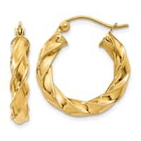 Versil 14 Karat Yellow Gold Light Twisted Hoop Earrings