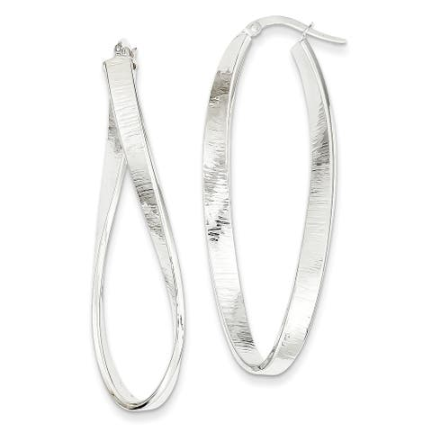 14K White Gold Polished Textured Twisted Oval Hinged Hoop Earrings by Versil