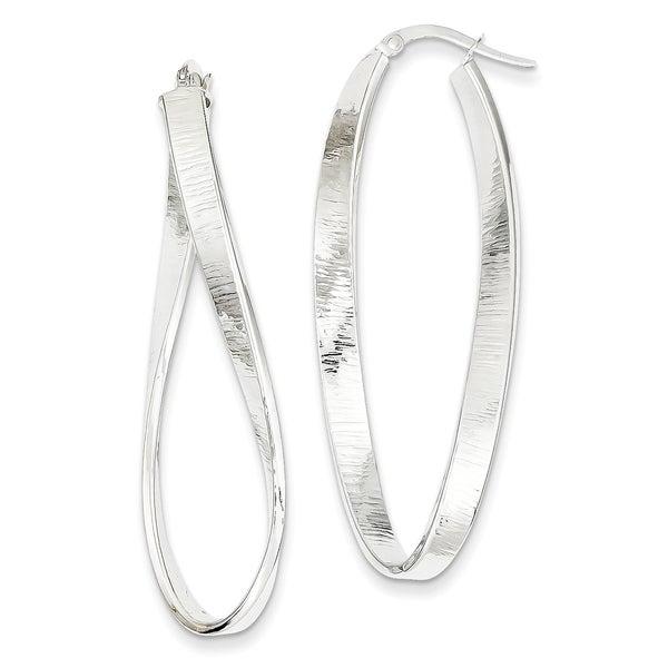 14 Karat White Gold Textured Twisted Oval Hoop Earrings