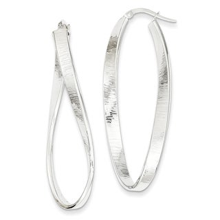 14k White Gold Textured Twisted Oval Hoop Earrings