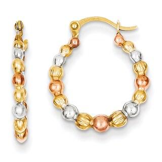 Versil 14 karat Yellow Gold, White and Rose Rhod Beaded Hoop Earrings