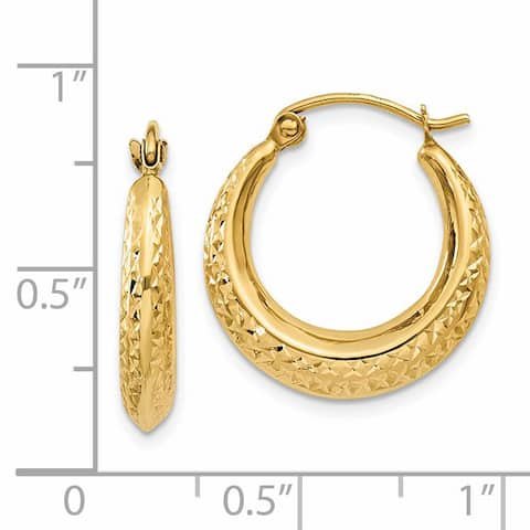 14K Yellow Gold 3.00mm Textured Hollow Hoop Earrings by Versil
