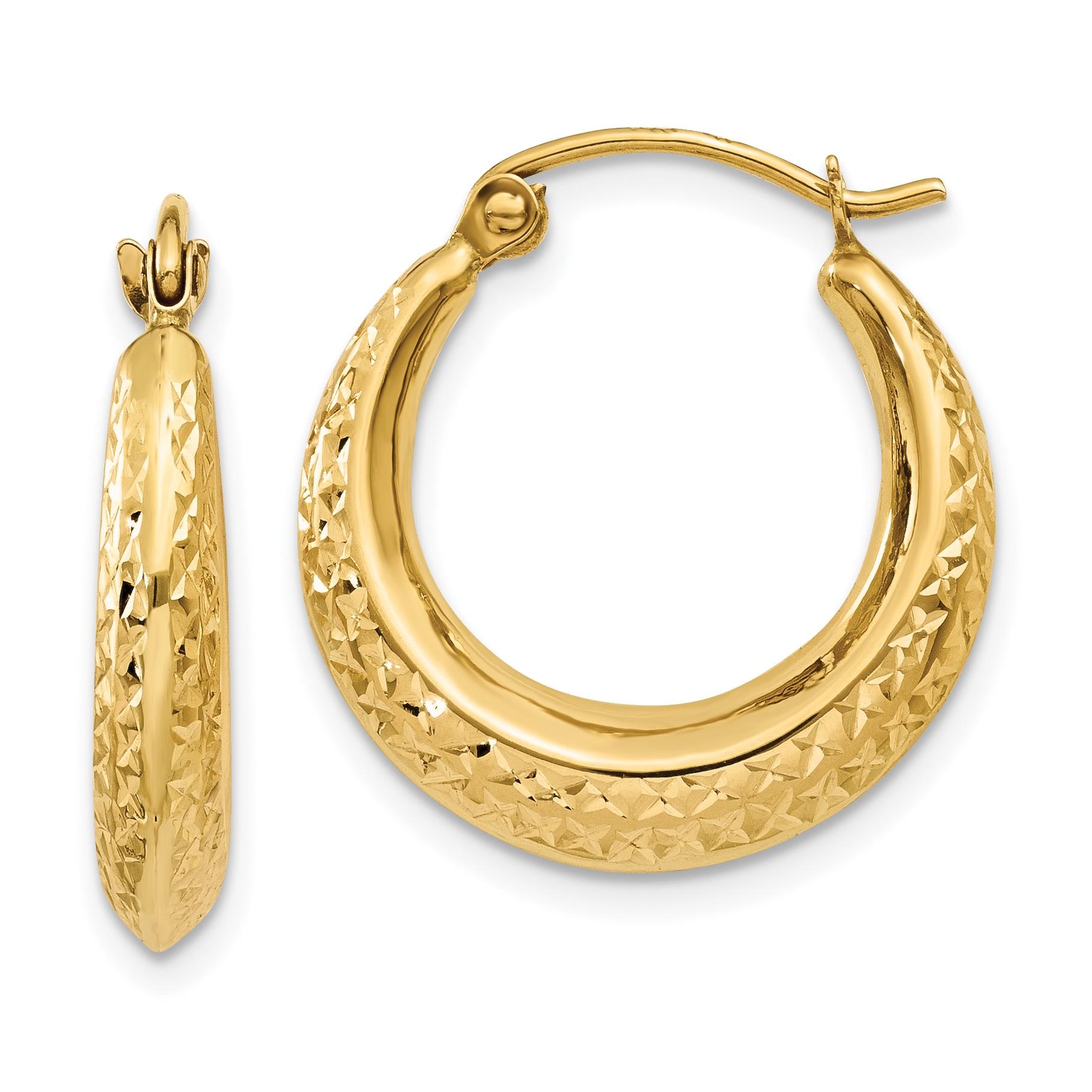 Versil 14 Karat Yellow Gold Textured Hollow Hoop Earrings