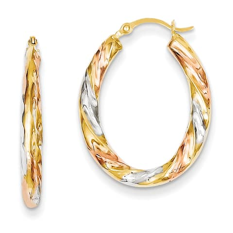 14 Karat Yellow Gold and White and Rose Rhodium Oval Hollow Scallop Hoop Earrings by Versil