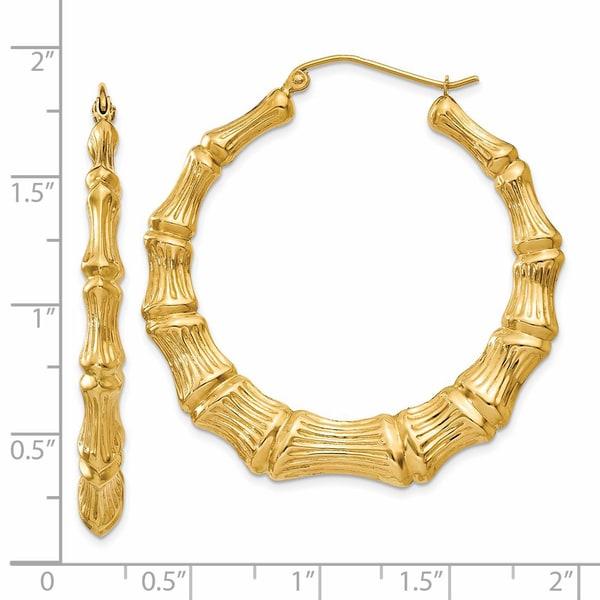 34d2ba7ee Shop Versil 14 Karat Yellow Gold Polished Bamboo Hoop Earrings ...