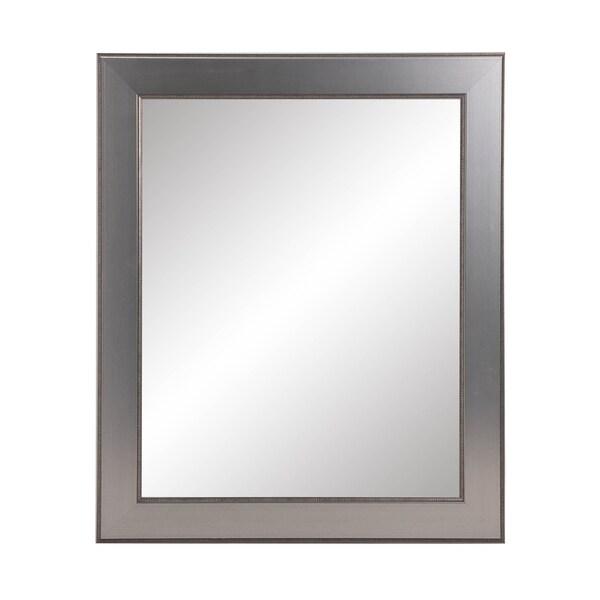 BrandtWorks Traditional Silver Entry Way Framed Wall Mirror - Nickel