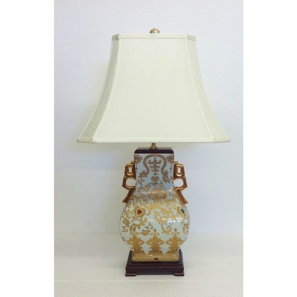 Gold Scrolls Square Gourd Vase Table Lamp