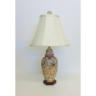 Gold Scrolls Hexagon Temple Jar Porcelain Table Lamp