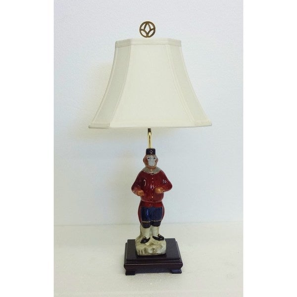 Soldier Monkey Figurine Porcelain Lamp