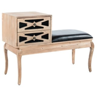 Logan Contemporary Black Faux Leather Entryway Bench