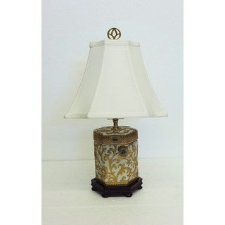 porcelain lighting. gold scrolls hexagon cover jar porcelain lamp lighting