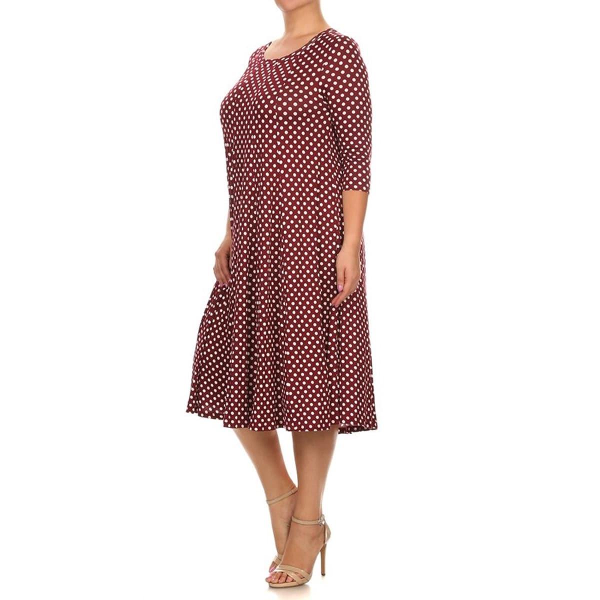 Women\'s Burgundy Plus-size Polka-dot Dress
