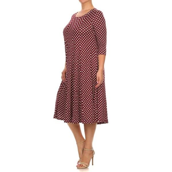 Women's Burgundy Plus-size Polka-dot Dress