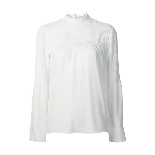 Derek Lam Women's White 100-percent Silk Blouse