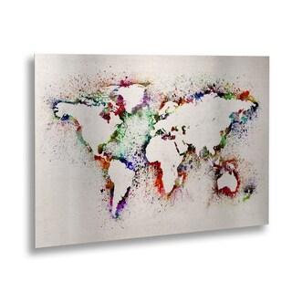Michael Tompsett 'World Map' Floating Brushed Aluminum Art - 16 x 22