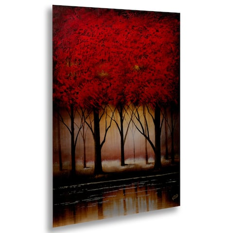 Masters Fine Art 'Serenade in Red' Floating Brushed Aluminum Art